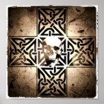 Skull in Celtic Cross Black,Sepia,Aged Poster