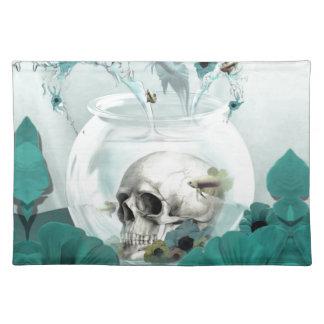 Skull in fish bowl illustration place mats