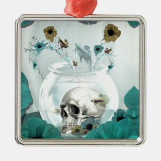 Skull in fish bowl illustration Silver-Colored square decoration