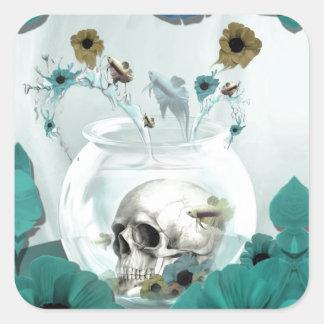 Skull in fish bowl illustration square sticker
