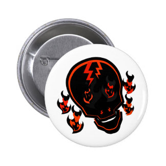 SKULL IN FLAMES WITH LIGHTNING STRIKES PINBACK BUTTON