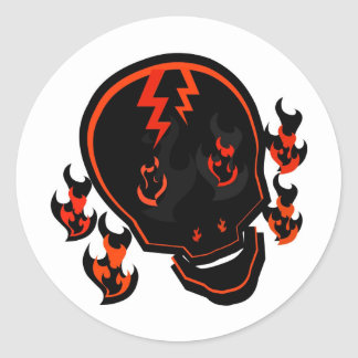SKULL IN FLAMES WITH LIGHTNING STRIKES ROUND STICKER