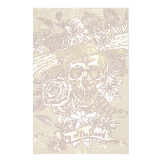Skull In Sombrero With Flowers Day Of The Dead 2 Personalized Stationery