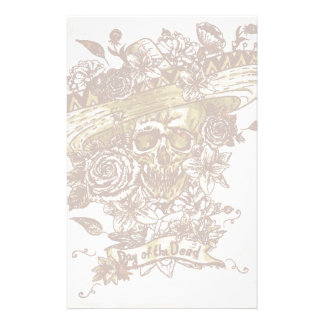 Skull In Sombrero With Flowers Day Of The Dead Stationery Paper