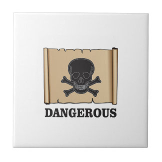 skull in the black frame small square tile