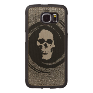 skull in the whirl wood phone case