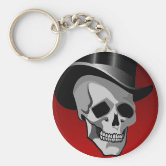 Skull in Top Hat Basic Round Button Key Ring