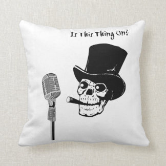 Skull in Top Hat with Microphone Cushion