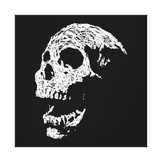 Skull in White on Black. Canvas Prints
