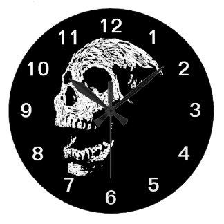 Skull in White on Black. Round Wallclocks