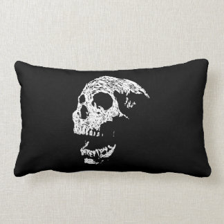 Skull in White on Black. Lumbar Pillow