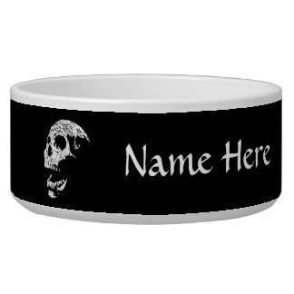 Skull in White on Black. Pet Bowls