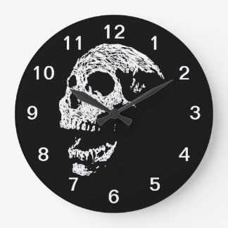 Skull in White on Black. Wallclocks