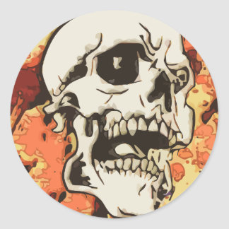Skull in yellow classic round sticker