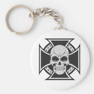 Skull & Iron Cross: Vector Drawing: Basic Round Button Key Ring