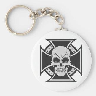 Skull Iron Cross Vector Drawing Keychains