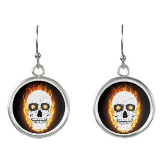 Skull Jewelry - Fire Horror Skull Earrings