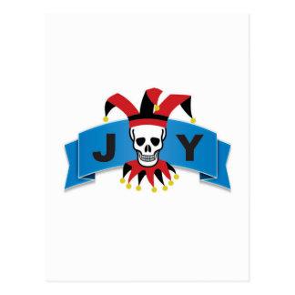 skull joy of banner postcard