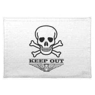 skull keep out placemat