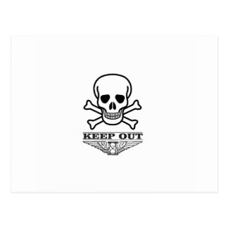 skull keep out postcard