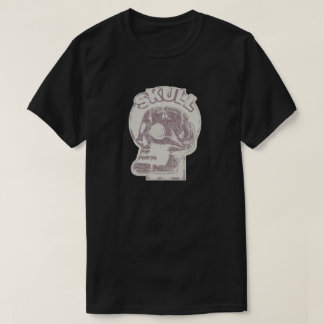 SKULL Keyhole -Faded Rust Red Distressed Logo Look T-Shirt