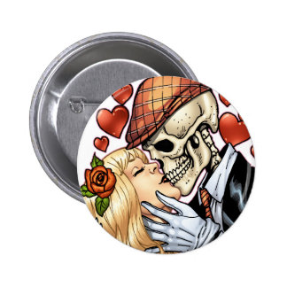 Skull Kiss with Hearts and Roses by Al Rio 6 Cm Round Badge