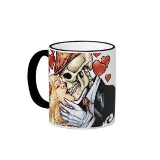 Skull Kiss with Hearts and Roses by Al Rio Ringer Mug