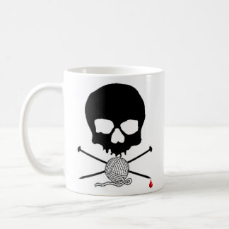 Skull & Knitting Needle with Yarn Mug