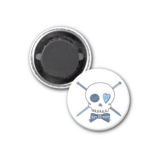 Skull & Knitting Needles (Blue) Magnet