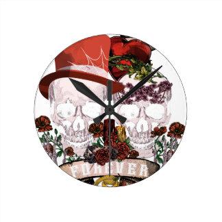 Skull Love Marriage Skeleton Couple Round Clock