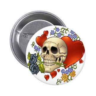 Skull Love - Skulls, Roses and Hearts by Al Rio 6 Cm Round Badge