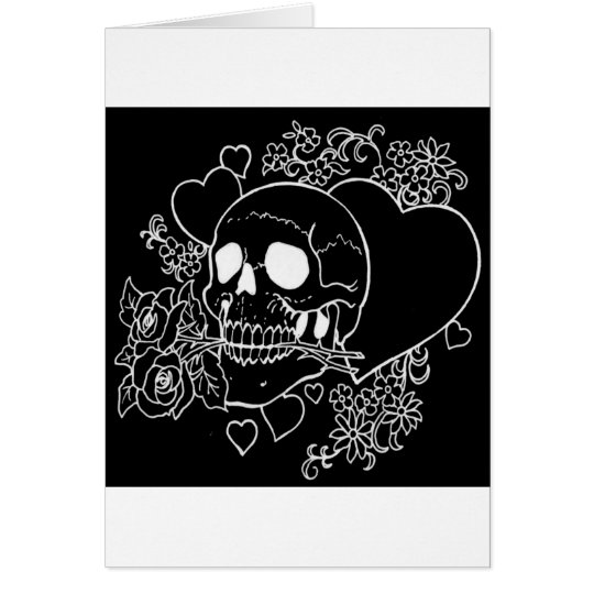 Skull Love - Skulls, Roses and Hearts by Al Rio Card