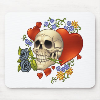 Skull Love - Skulls, Roses and Hearts by Al Rio Mouse Pad
