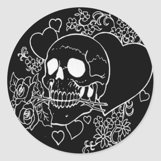 Skull Love - Skulls, Roses and Hearts by Al Rio Round Stickers