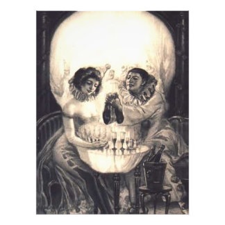 Skull Love Victorian Optical Illusion Vintage Art Photo Print