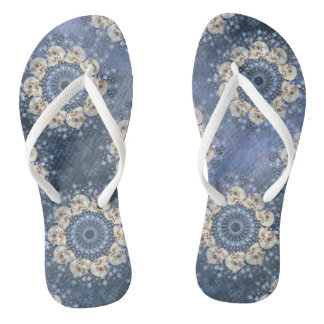 Skull Mandala (tiled in denim blue) Thongs