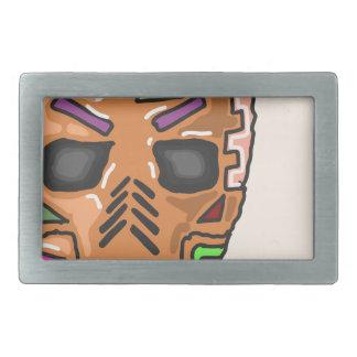 Skull Mask Painted Sketch Rectangular Belt Buckles