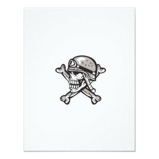Skull Military Helmet Crossed Bones Retro 11 Cm X 14 Cm Invitation Card