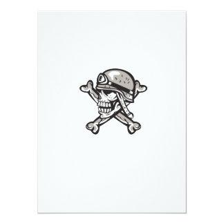Skull Military Helmet Crossed Bones Retro 14 Cm X 19 Cm Invitation Card