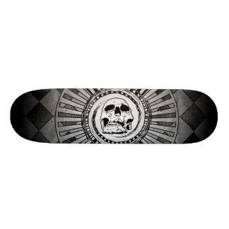 Skull Motif Black & White Skateboard