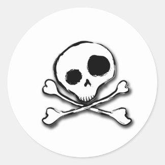 Skull N Bones Plain Round Sticker