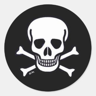 Skull n Bones round black sticker