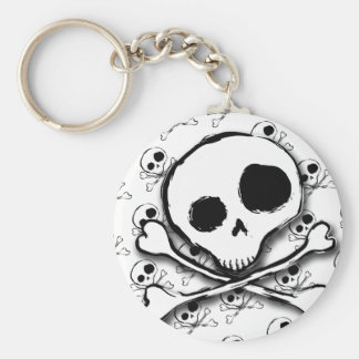 Skull N Bones with backdrop Basic Round Button Key Ring