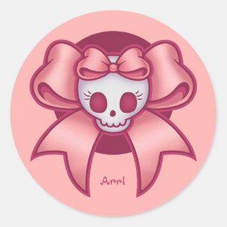 Skull 'n Bows Round Sticker