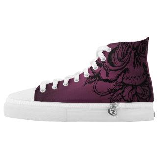 Skull 'n' Roses Hi Tops-Burgundy High Tops