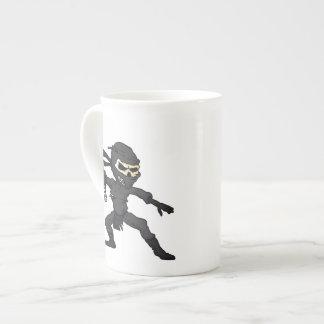 skull ninja cartoon. tea cup