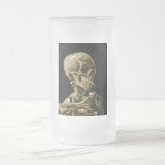 Skull of a Skeleton with Burning Cigarette by Vinc Frosted Glass Beer Mug