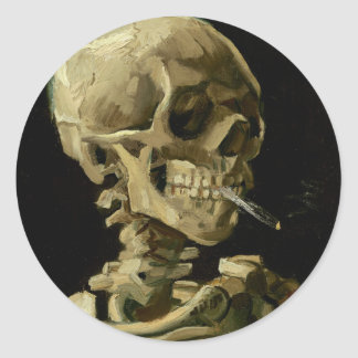 Skull of a Skeleton with Burning Cigarette Classic Round Sticker