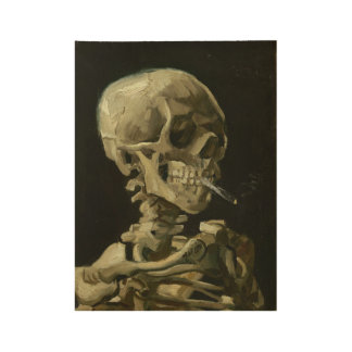 Skull of a Skeleton with Burning Cigarette Wood Poster