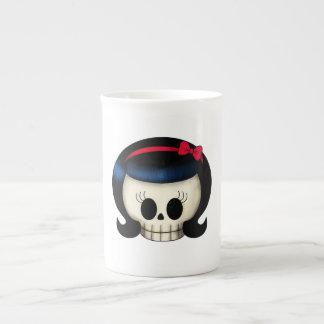 Skull of Rockabilly Girl Tea Cup